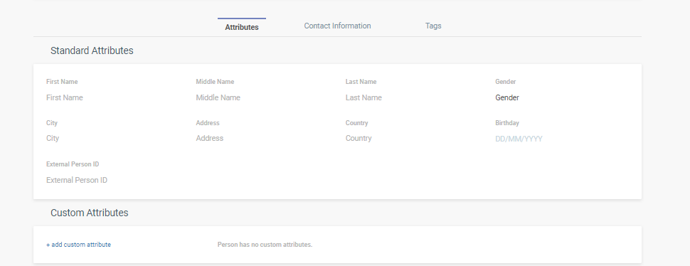 standard and custom attributes - mobile app messaging