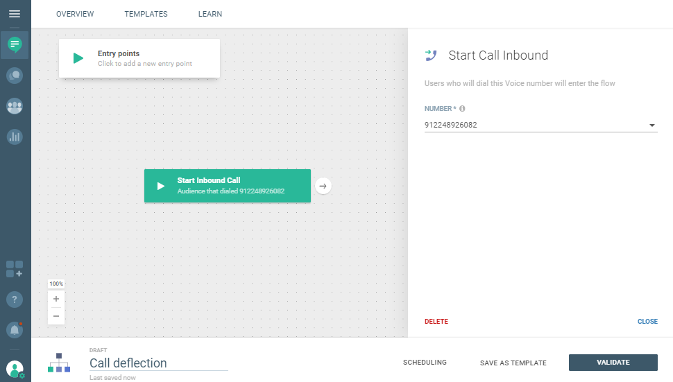 Conversations use case - Reduce Hold Time in Your Call Center - start inbound call