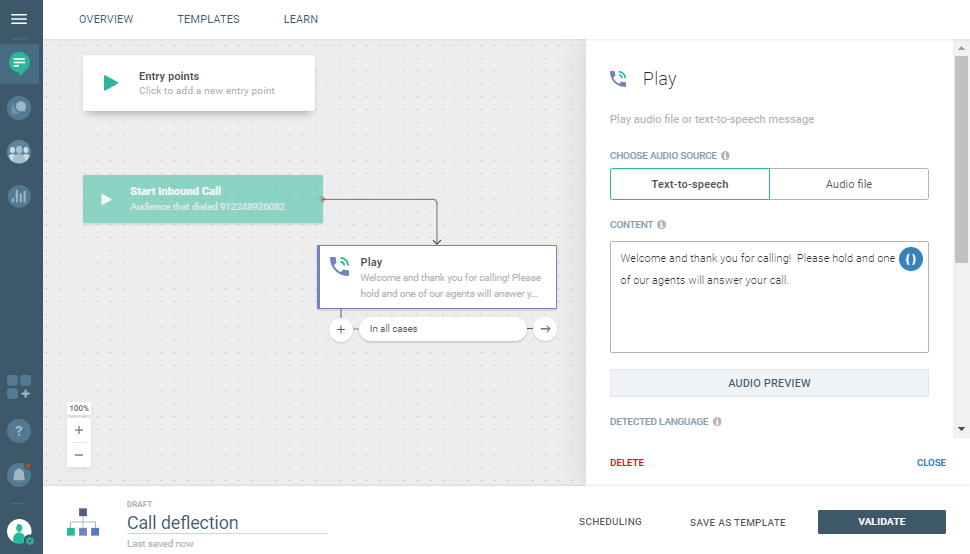 Conversations use case - Reduce Hold Time in Your Call Center - use Play element