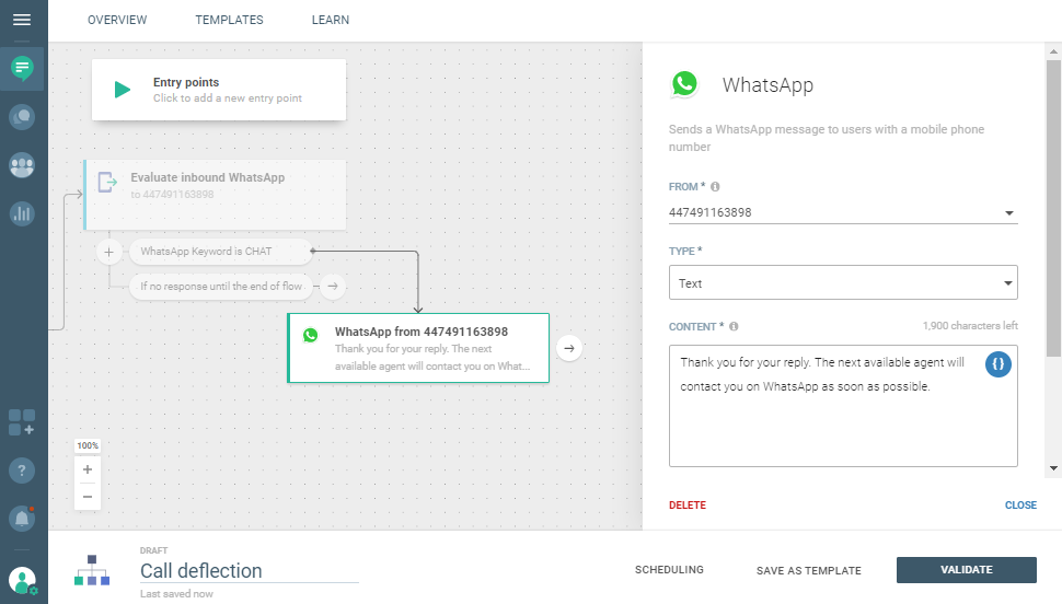 Conversations use case - Reduce Hold Time in Your Call Center - send WhatsApp message