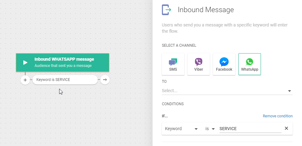 WhatsApp use case - Assign a Customer Inquiry to the Right Agent - inbound message
