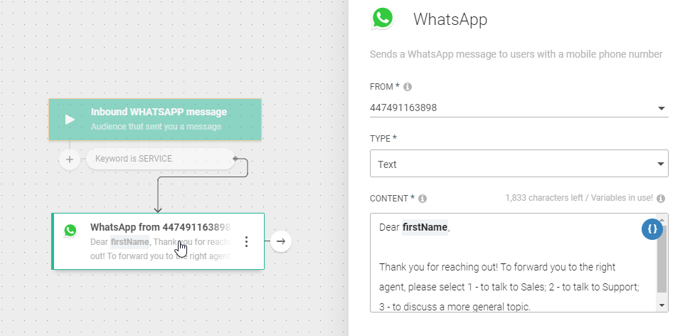 WhatsApp use case - Assign a Customer Inquiry to the Right Agent - queue redirect