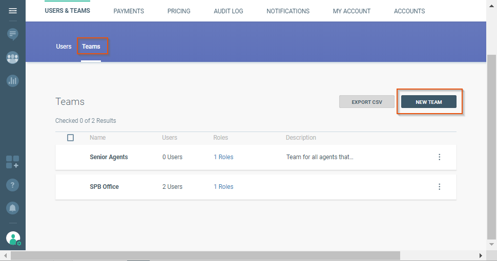 manage teams in settings on the communication platform