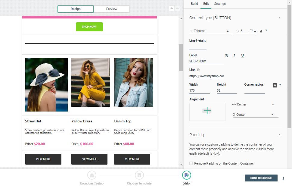 Customize email template and create an email with email design editor