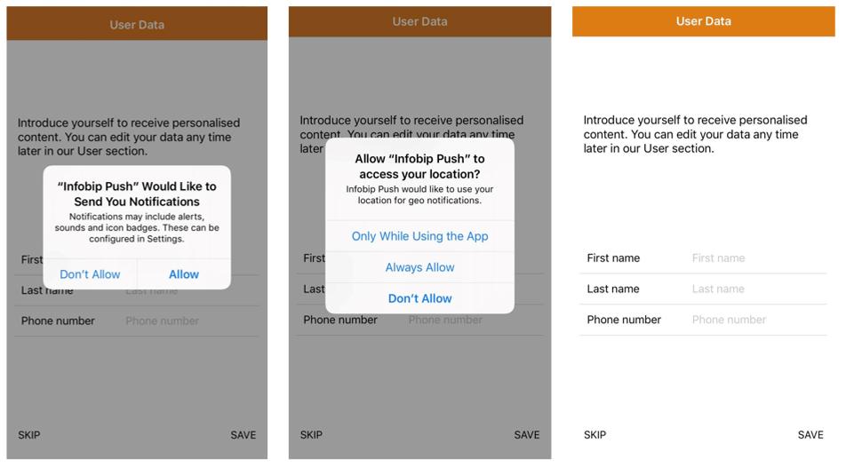 user data - demo app mobile launch