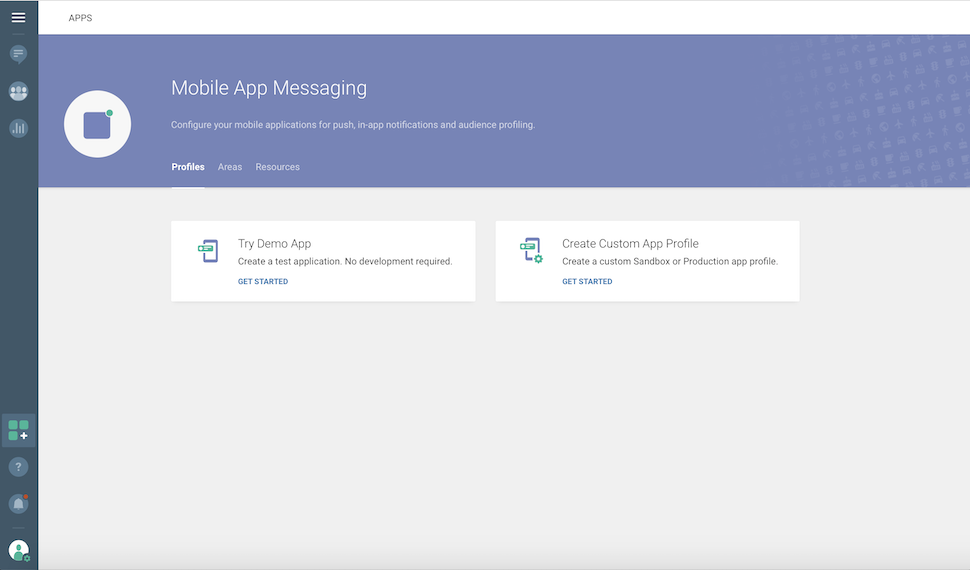 Mobile App Messaging -Profiles - try demo app - get started