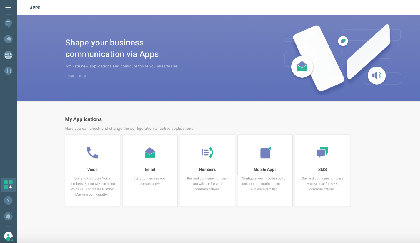 Apps in web interface