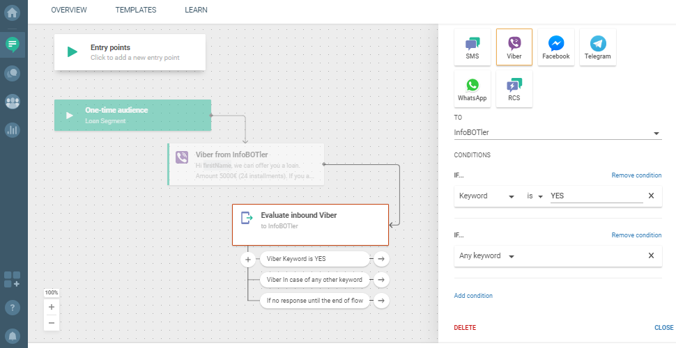 Flow use case - Send Personalized Loan Offer - set conditions