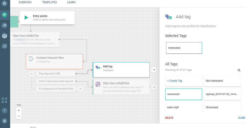 Flow use case - Send Personalized Loan Offer - add tag
