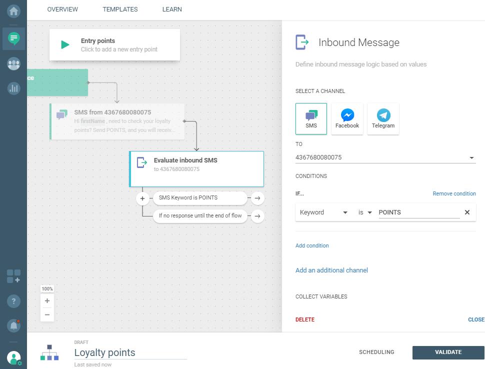 Flow use case - Enhance Loyalty Program Transparency - inbound message