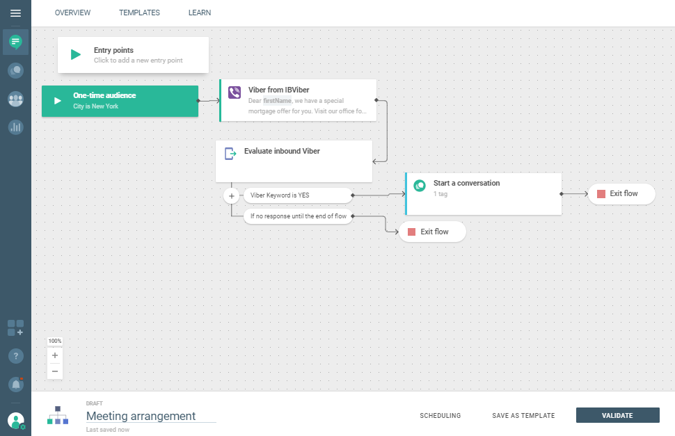 Viber use case - Arrange Meetings With Your Customers flow example