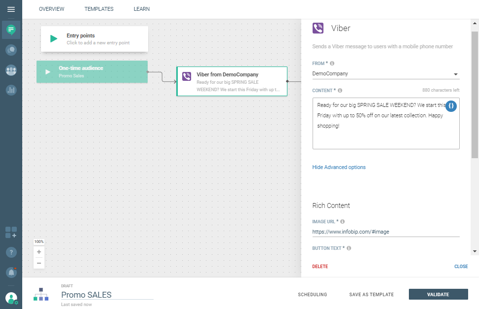 Viber use case - Send Promo Campaign Reminders select Viber in Flow