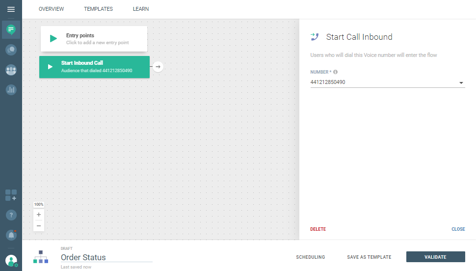 Voice use case - Quickly Respond to Customer Order Inquiry - start inbound call