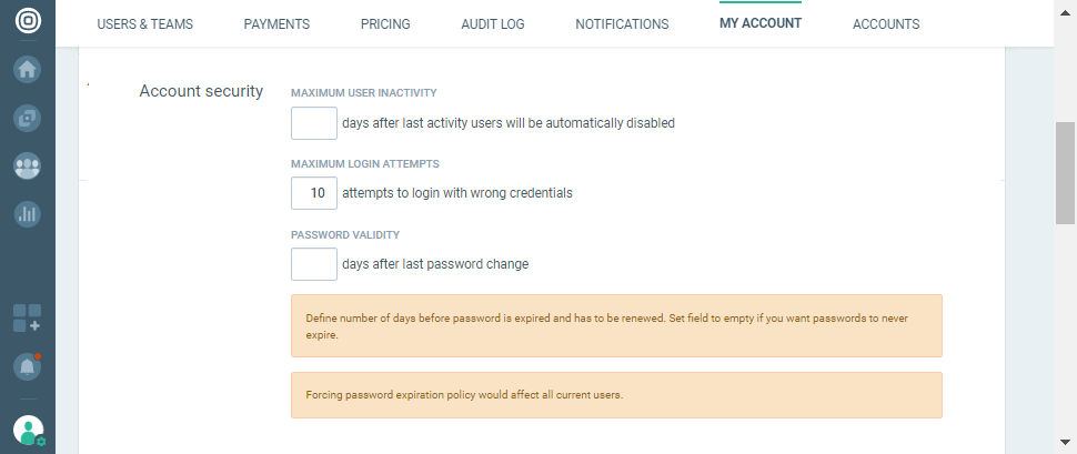 account security in settings