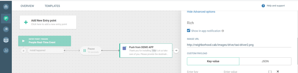 Define the advanced options for this use case - welcome new app users
