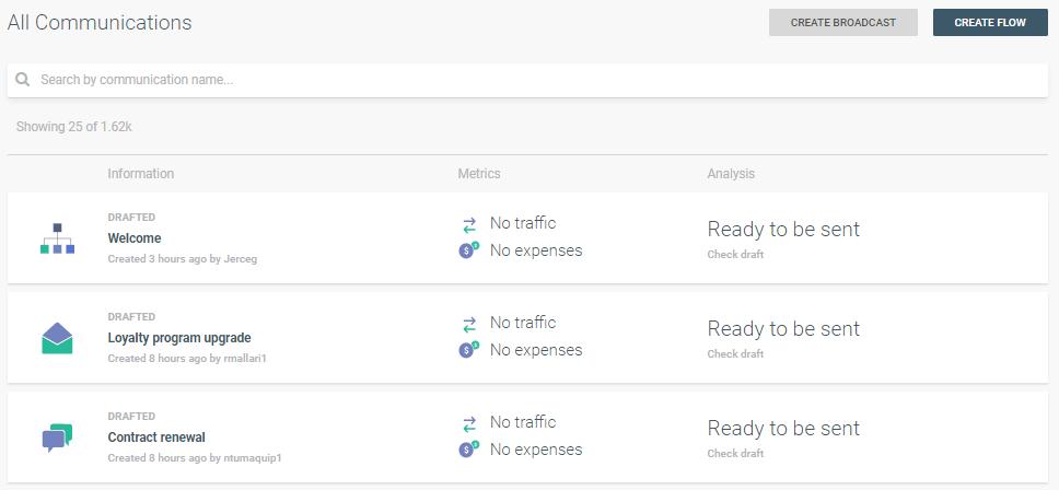 deleting communication on customer engagement platform