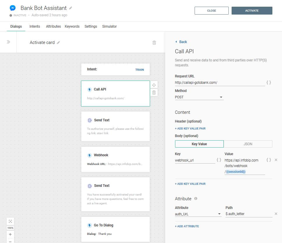 Add the call API element