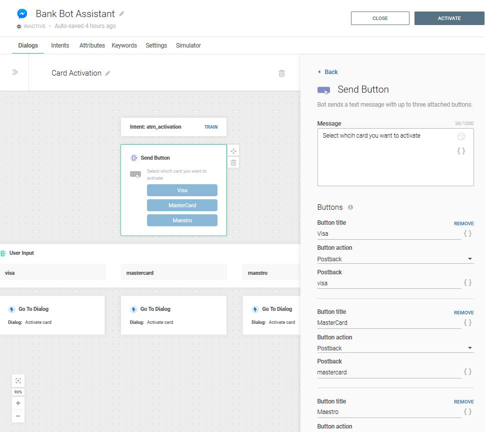 Bank bot assistant use case - send button element