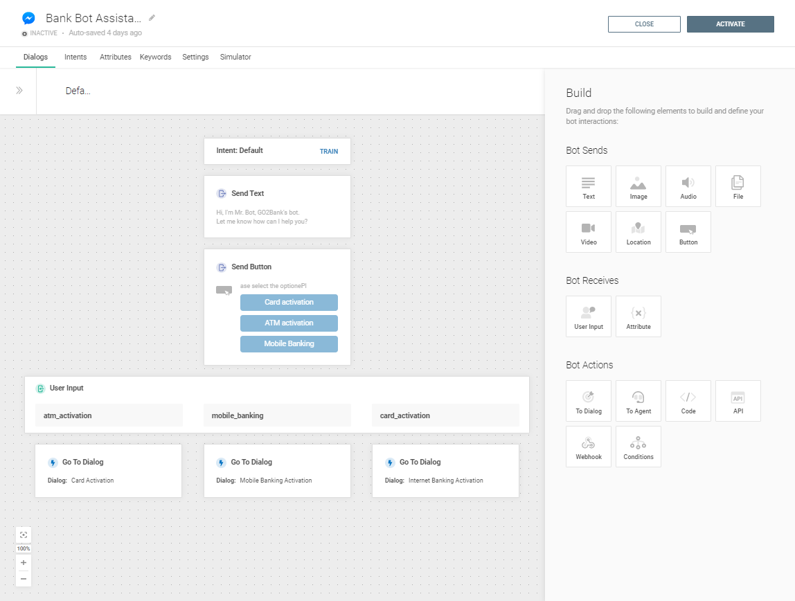 Bank bot assistant - entire use case setup