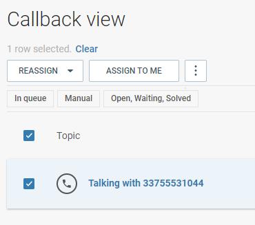 Calls - Callback view