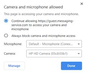 Calls - Agent camera permissions