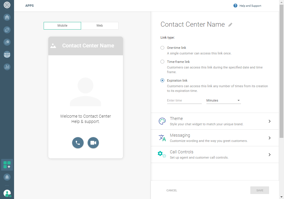 Calls - Customize call link