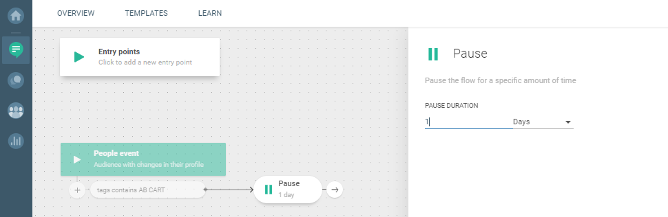 Flow use case - Cart Abandonment - add pause element