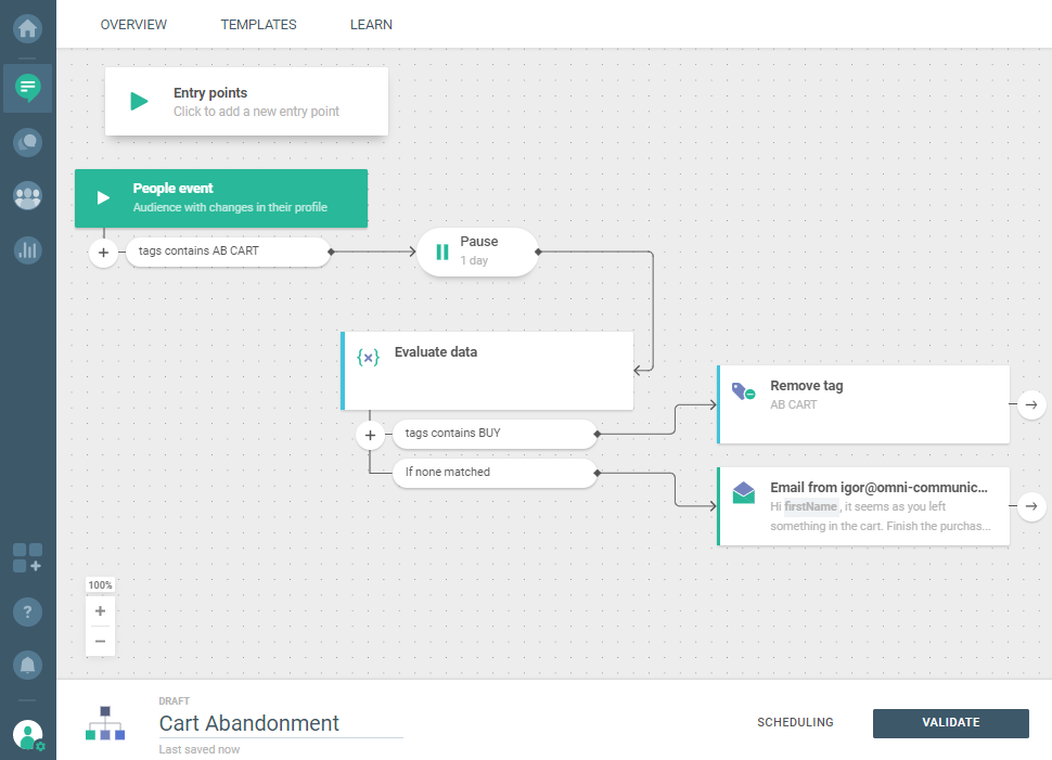 Flow use case - Cart Abandonment - send email element