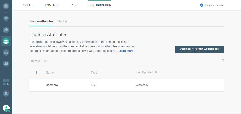 configuration of user attributes