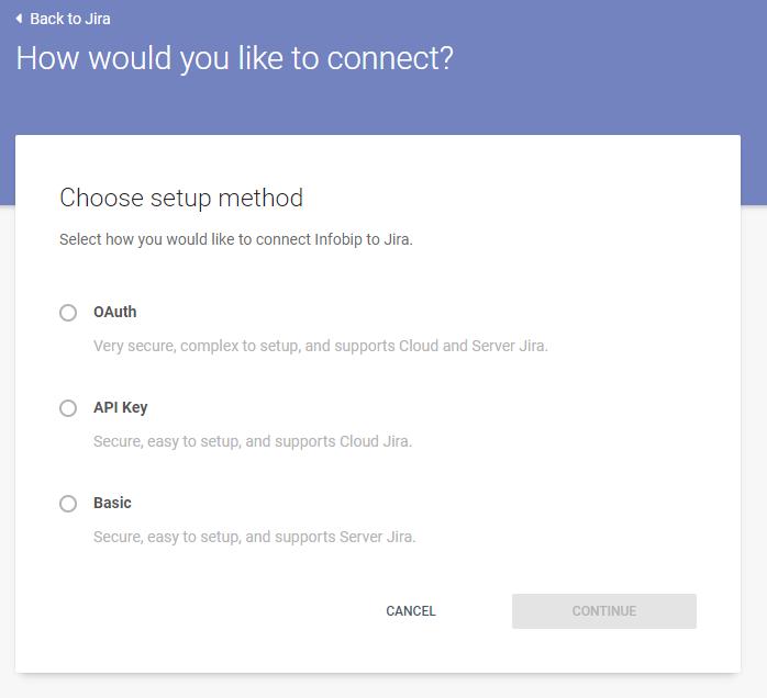 Connect Jira to Infobip - setup method