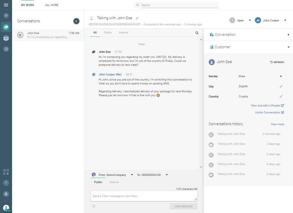 Conversations use case - agent responds via Viber