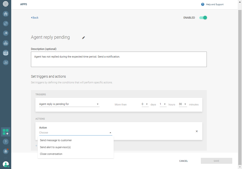 Conversations - Automations set new workflow
