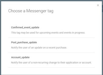 Conversations - Choose Messenger tag