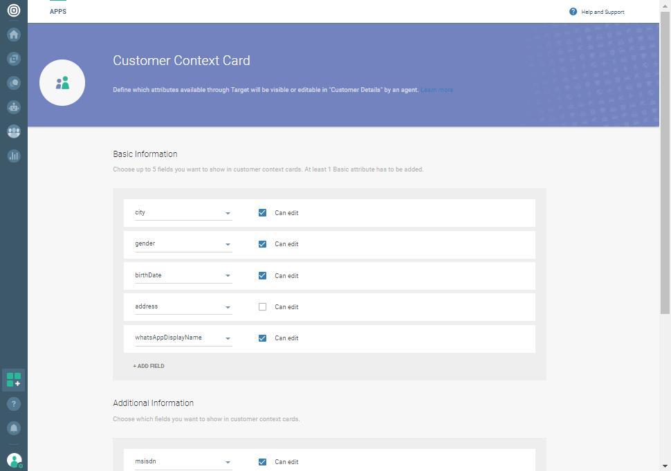 Conversations - Customer context card