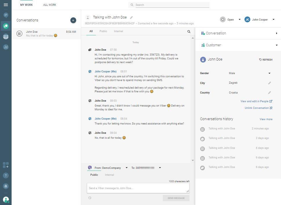 Conversations use case - customer replies via Viber