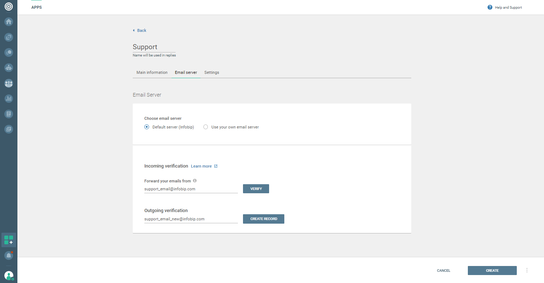 Conversations - Choose default Email server