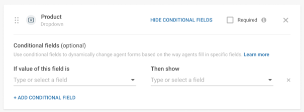 Conversations - Form conditional fields