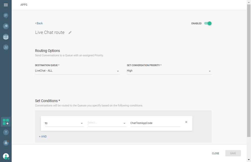 Live Chat - Conversations - Configure Route