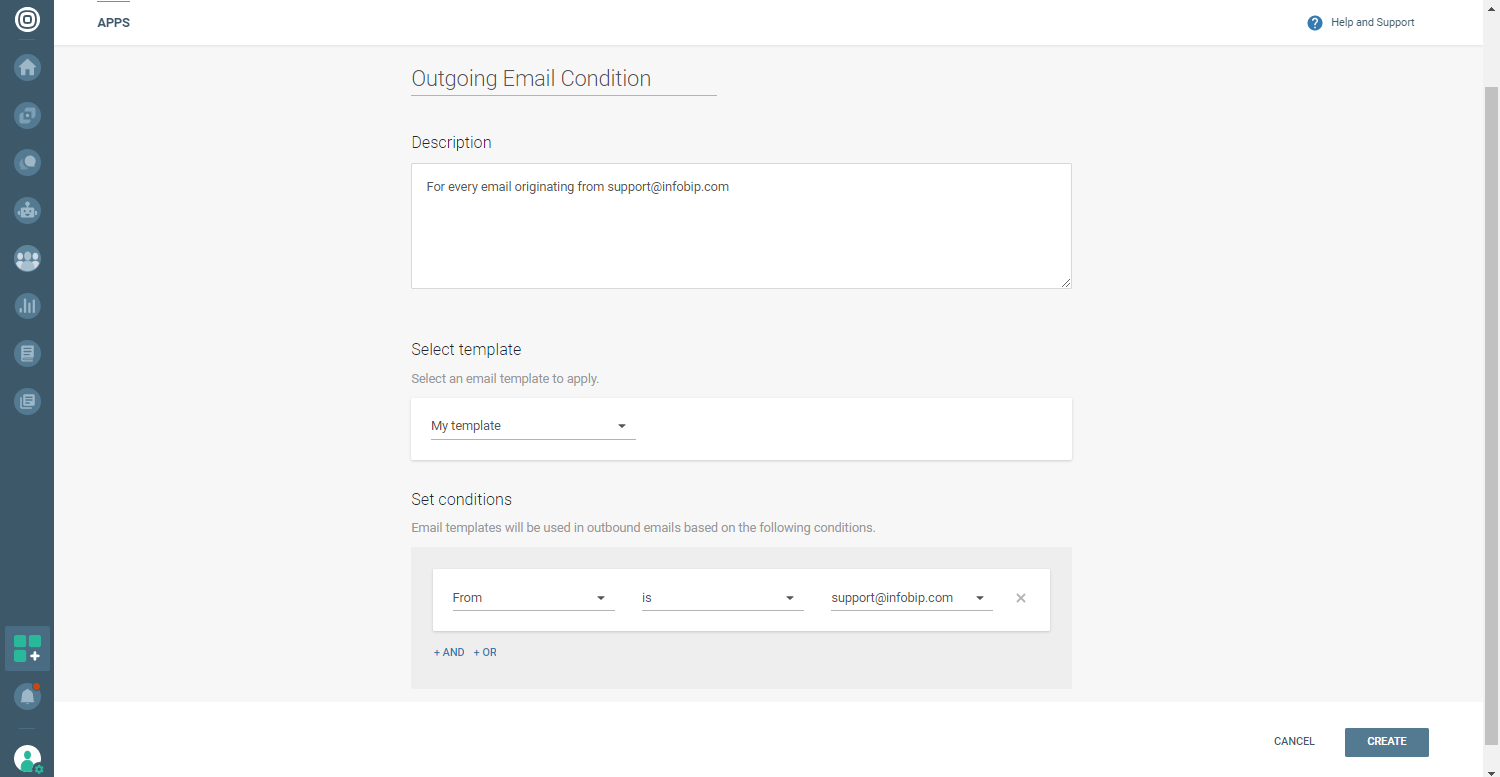 Conversations - Outbound email condition