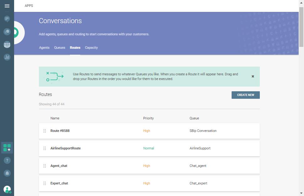 Conversations - Routes panel