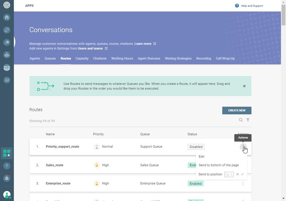 Conversations - Routes improvements