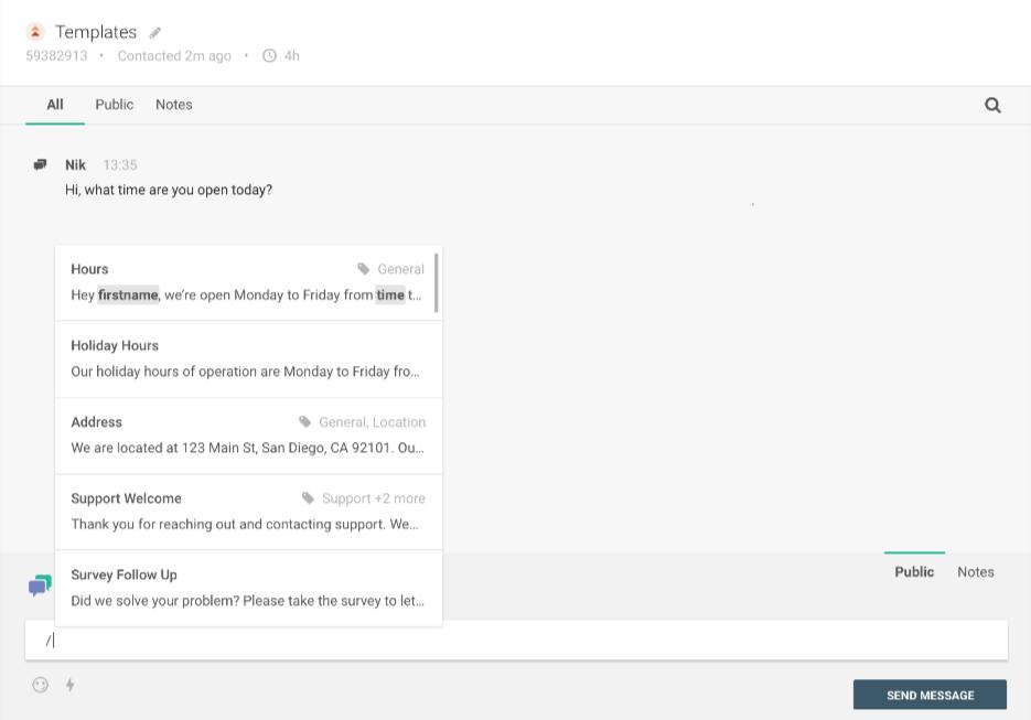 Conversations - Agent template pop-up
