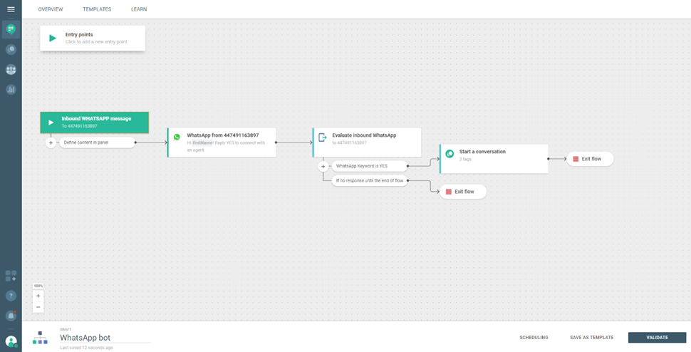 Create a bot over Flow and use Conversations