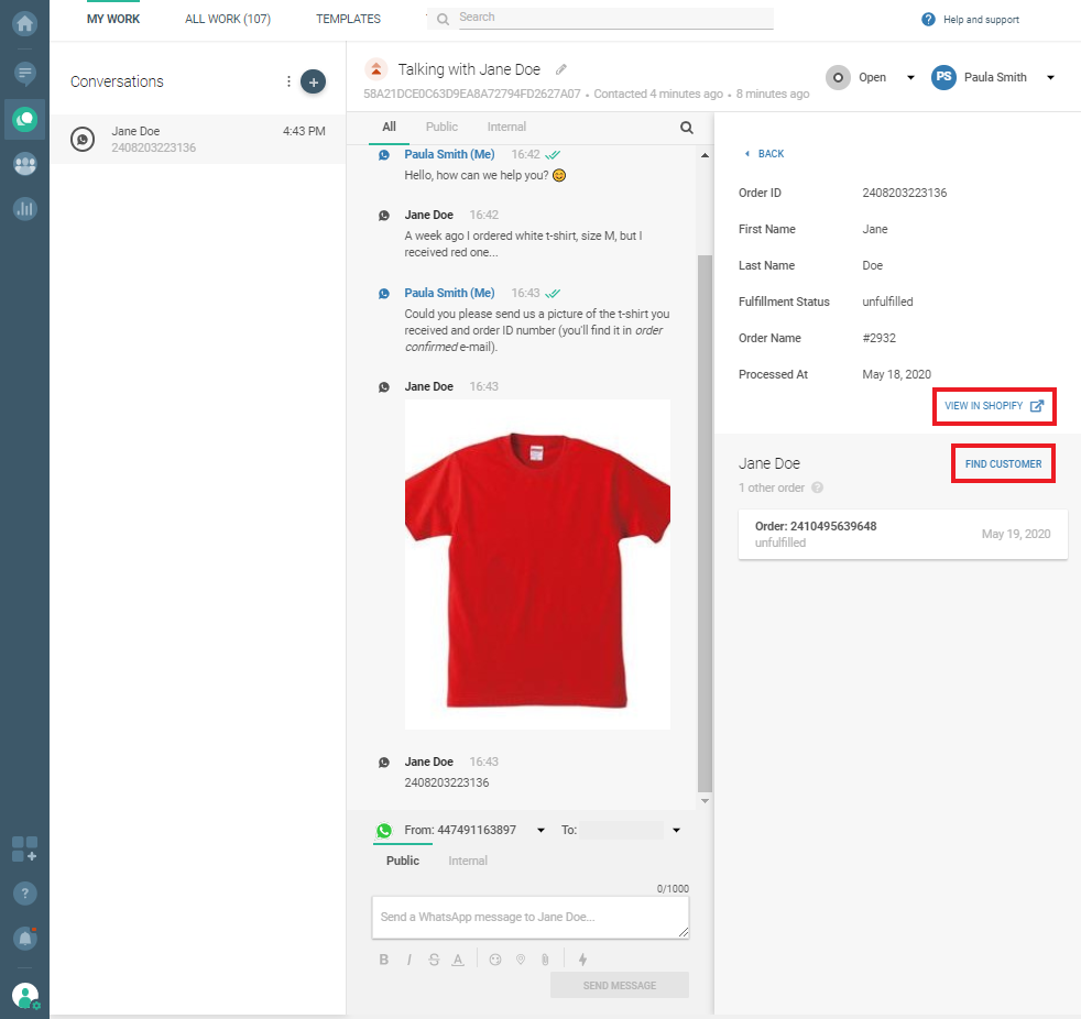 Conversations use case - Wrong order - View in Shopify