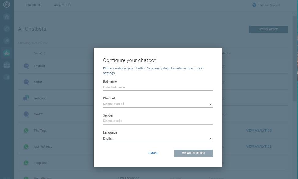 Create chatbot frame