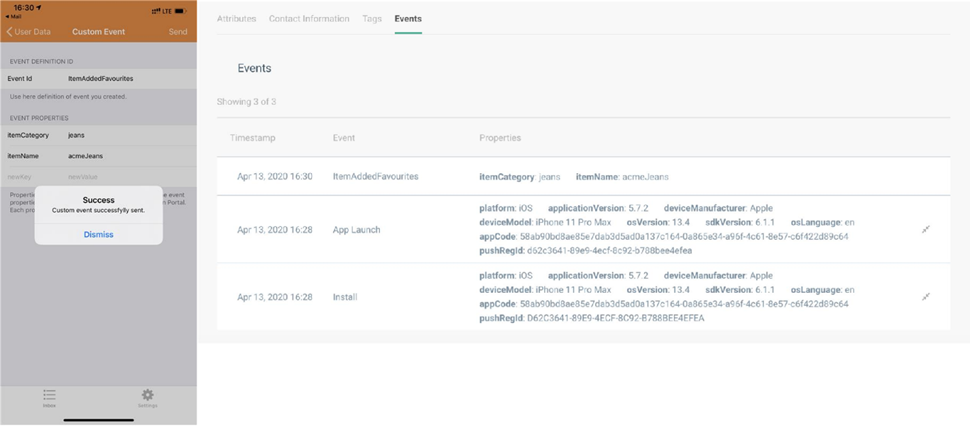 Mobile app messaging - custom app demo application with custom events