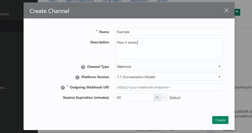 Create new Oracle channel