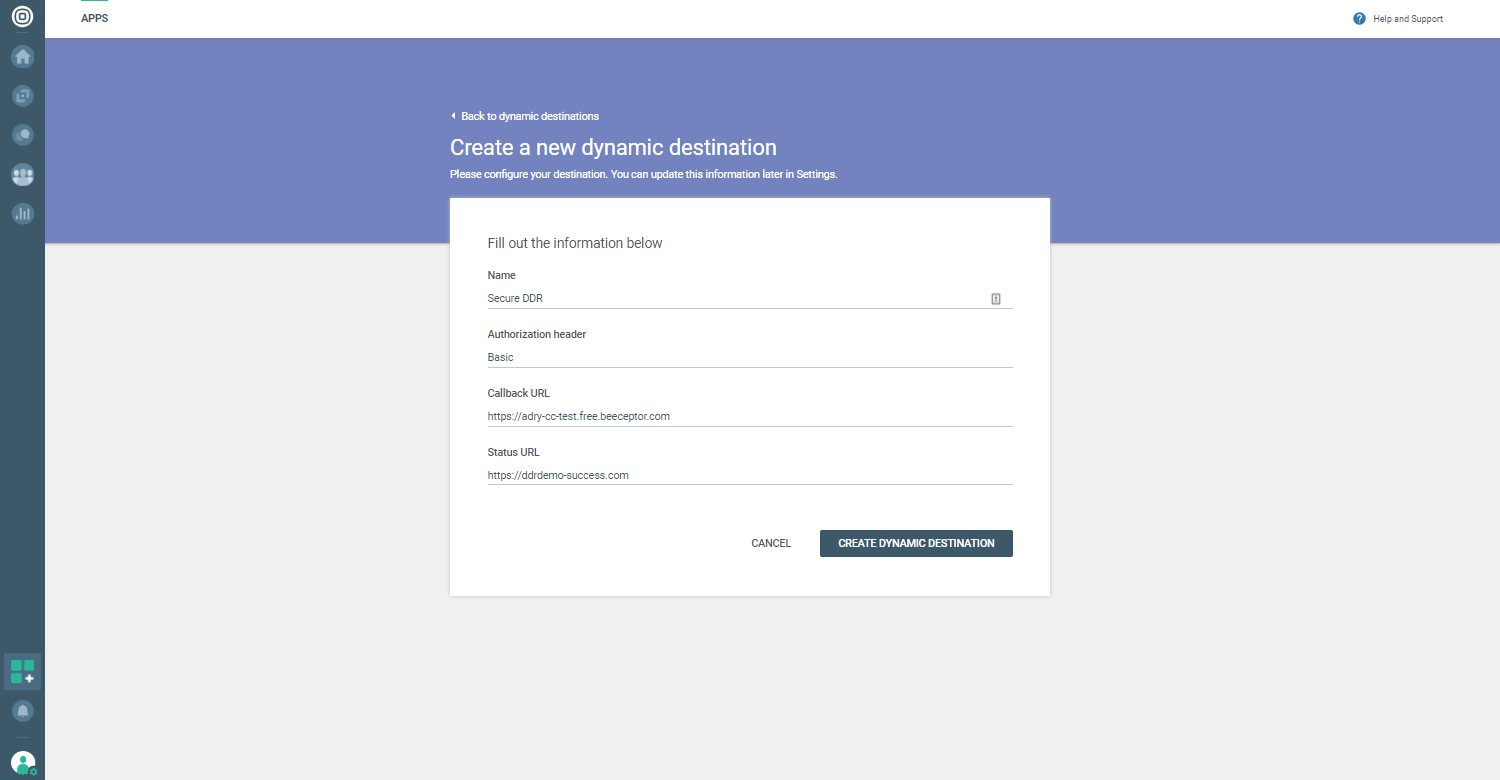 Voice and Video - Create new dynamic destination