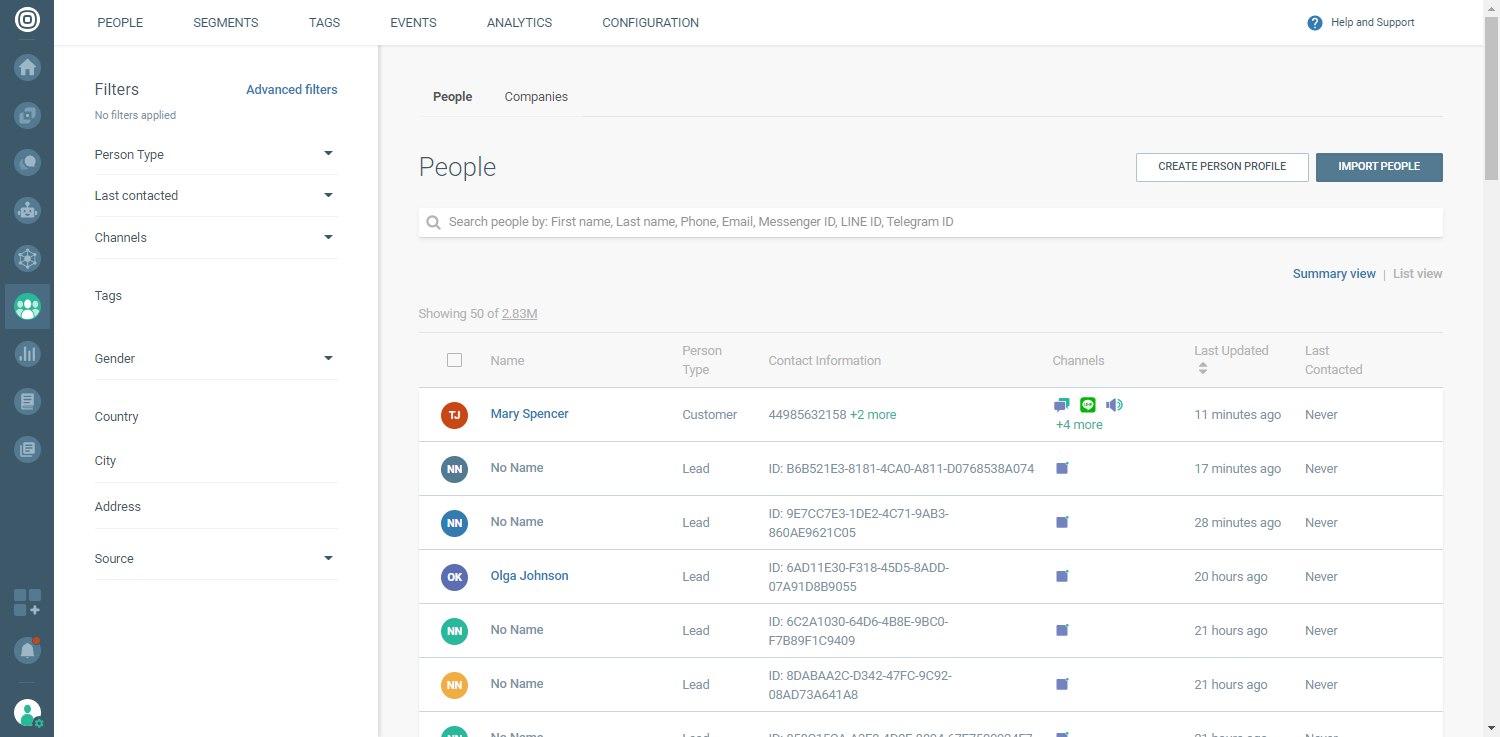Create a new Person Profile in People