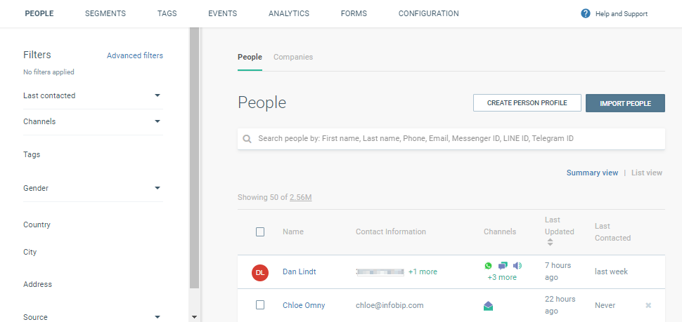creating customer profile on data platform